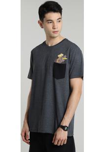 Camiseta Masculina Scooby Doo Com Bolso Manga Curta Gola Careca Cinza Mescla Escuro