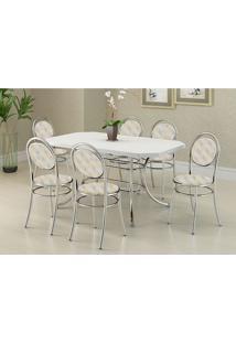 Conjunto Mesa 1507 Branca Cromada Com 6 Cadeiras 190 Retrô Metalizado Carraro
