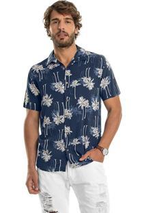 Camisa Viscose Estampada Rovitex Azul