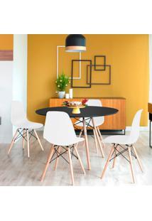 Conjunto De Mesa De Jantar Com 4 Cadeiras Eames Eiffel I Preto E Branco