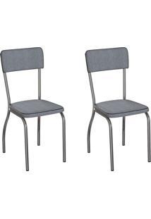 Conjunto Com 2 Cadeiras Nowra Cinza E Cromado