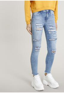 Calça Jeans Feminina Skinny Destroyed Cintura Alta Azul Claro