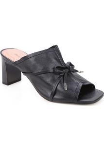 Tamanco Couro Shoestock Laço Salto Alto - Feminino-Preto