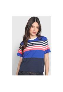 Camiseta Tommy Hilfiger Listrada Logo Azul/Rosa