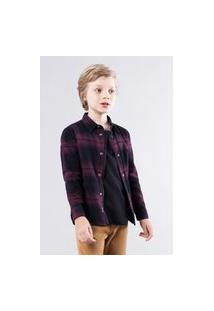 Camisa Mini Pf Overshirt Xadrez Reserva Mini Bordô