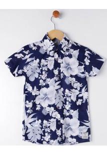 Camisa Manga Curta Infantil Para Menino - Azul Marinho/Branco