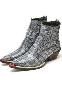 Bota Botina Texana Em Couro Doc Shoes Cinza - Kanui