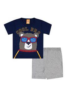 Pijama Bebê Masculino Meia Malha Camiseta Manga Curta Ursinho E Shorts Mescla (1/2/3) - Gueda Kids - Tamanho 3 - Azul Marinho,Mescla