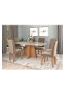 Conjunto De Mesa De Jantar Patrícia Com Vidro E 6 Cadeiras Tais Suede Off White E Jolie