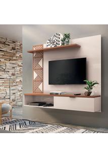 Painel Para Tv Até 50 Polegadas Grid Off White E Marrom Nature