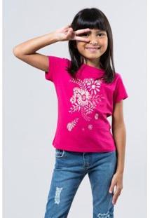 Camiseta Infantil Floral Tinta Reserva Mini Feminina - Feminino