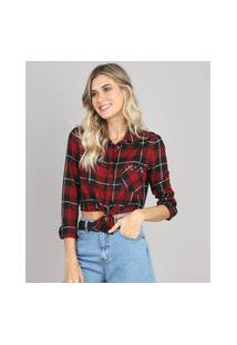 Camisa Feminina Cropped Estampada Xadrez Com Ilhós Manga Longa Vermelha Escuro