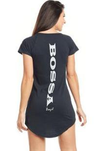 Camiseta Feminina Long Estampada Bossa - Bossa Costas - Feminino-Preto