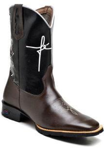 Bota Texana Ded Calçados Bico Quadrado Cano Longo Bordado Fé Masculina - Masculino-Marrom