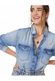 Amaro Feminino Camisa Jeans Com Leves Puídos, Azul Claro