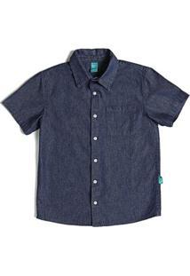Camisa Infantil Jokenpô Jeans Masculina - Masculino-Azul