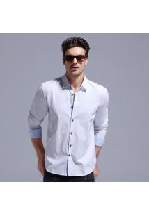 Camisa Masculina Slim Manga Longa - Branco P