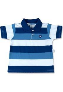 Camiseta Infantil Com Gola Cotton Listrado Dicaval - Masculino-Marinho