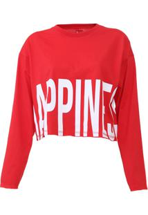 Camiseta Cropped Coca-Cola Jeans Happines Vermelha
