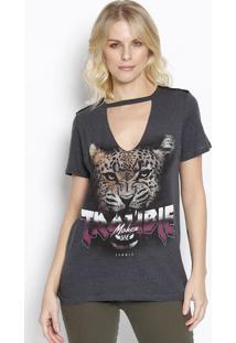 "Camiseta Em Boton㪠""Trouble Maker"" - Cinza Escuro & Bransommer"