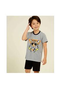 Pijama Infantil Manga Curta Tigre Mr Tam 4 A 10