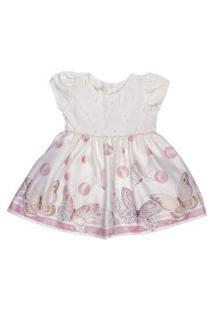 Vestido Infantil Barrado Borboletas - Anjos Baby Chic Rosa
