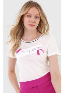 Camiseta Forum Lettering Off-White - Off White - Feminino - Viscose - Dafiti