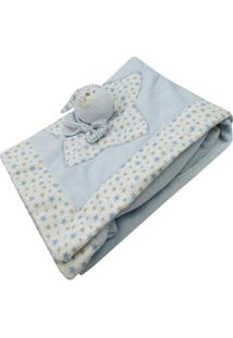 Manta Bebê Com Ursinho De Pelúcia Masculina - Masculino-Azul