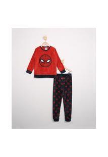 Pijama De Plush Infantil Manga Longa Homem-Aranha Vermelho