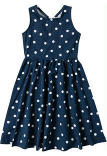Vestido Azul Marinho Godê Com Abertura