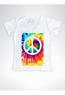 Camiseta Feminina Gola V Cool Tees Tie Dye Simbolo Da Paz Branca - Branco - Feminino - Algodã£O - Dafiti