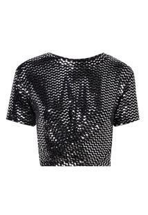Camiseta Rosa Chá Debora Malha Preto Feminina (Preto E Prata, Pp)