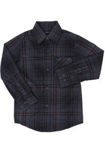 Camisa Manga Longa Infantil Tassa Xadrez Masculina - Masculino-Chumbo