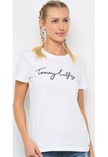 Camiseta Tommy Hilfiger Logo Básica Feminina - Feminino-Branco