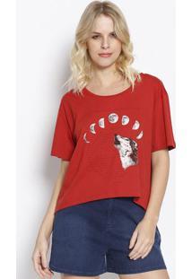 """Camiseta """"Fases Da Lua"""" - Vermelha & Preta - Sommersommer"""