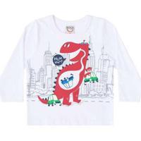 ca51f82ee3 Camiseta Infantil Bebê Manga Longa Branca Boca Grande Masculino -  Masculino-Branco