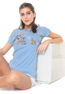 Camiseta Alto Giro Recorte Estampado Azul