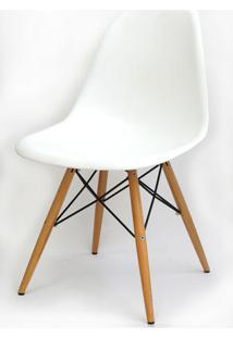 Cadeira Eames Polipropileno Branco Base Madeira -10255 - Sun House