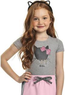 Body Infantil Menina Cat Girl Cinza