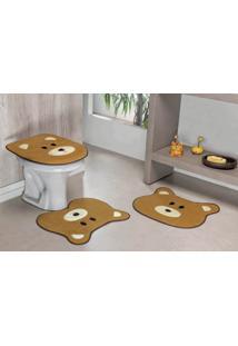 Jogo De Banheiro Formato Urso 03 Peças Caramelo Guga Tapetes