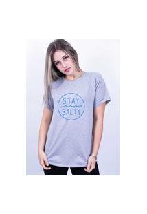 Camiseta Bilhan Corte A Fio Stay Salty Cinza