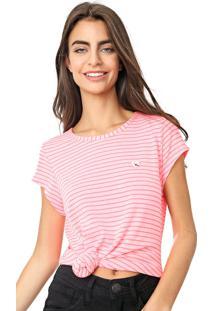 Camiseta Coca-Cola Jeans Listrada Rosa