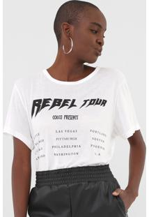 Camiseta Colcci Rebel Tour Off-White