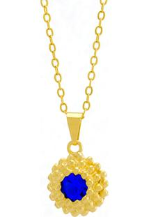 Gargantilha Horus Import Ponto Luz Flor Azul Zafira Banhada Ouro Amarelo 18 K - 1061121