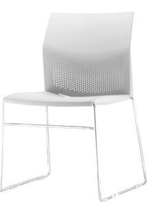 Cadeira Connect Assento Branco Base Fixa Cromada - 53770 - Sun House