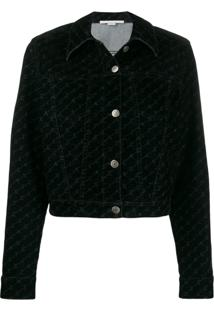 Stella Mccartney Monogram Print Denim Jacket - Preto