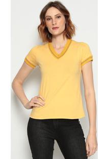 Camiseta Listrada- Amarela & Dourada - ÊNfaseãŠNfase