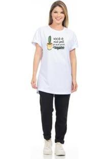 Camiseta Estampada Feminina - Feminino-Branco