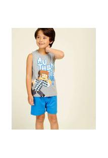 Pijama Infantil Sem Manga Estampado Authentic Games Tam 4 A 12