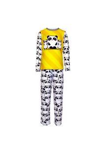 Pijama Menino Manga Longa E Calça Isabb Panda Amarelo